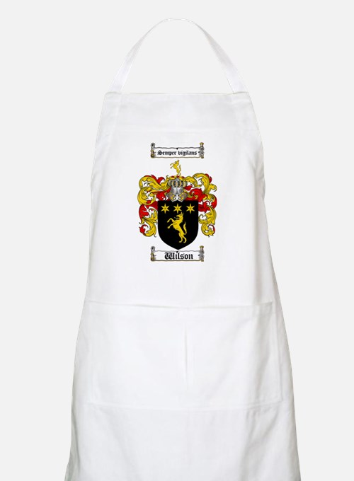 Wilson Coat of Arms Family Crest BBQ Apron