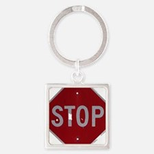 stop1 Square Keychain