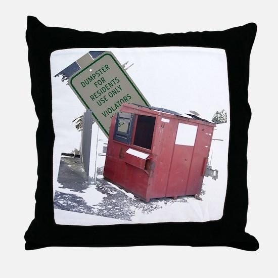 dumpster-black Throw Pillow