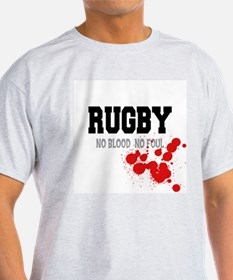 No Blood No Foul Rugby Ash Grey T-Shirt
