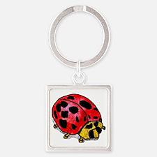 ladybug-black Square Keychain