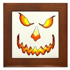 pumpkinface-black Framed Tile