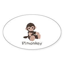 li'l monkey (brown) Oval Decal