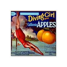 "Diving Girl California Appl Square Sticker 3"" x 3"""