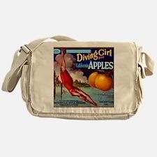 Diving Girl California Apples Messenger Bag