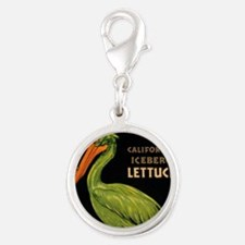 King Pelican Lettuce Silver Round Charm