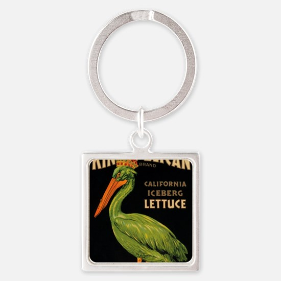 King Pelican Lettuce Square Keychain