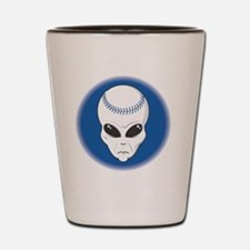 baseball alien head copy Shot Glass