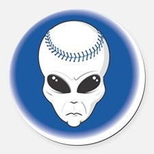 baseball alien head copy Round Car Magnet