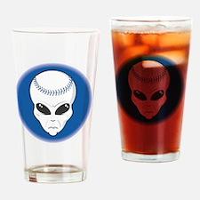 baseball alien head copy Drinking Glass