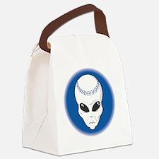 baseball alien head copy Canvas Lunch Bag