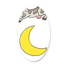 cow jumping over the moon copy Oval Car Magnet