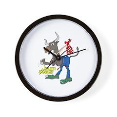 Bum Steer Cartoon Wall Clock