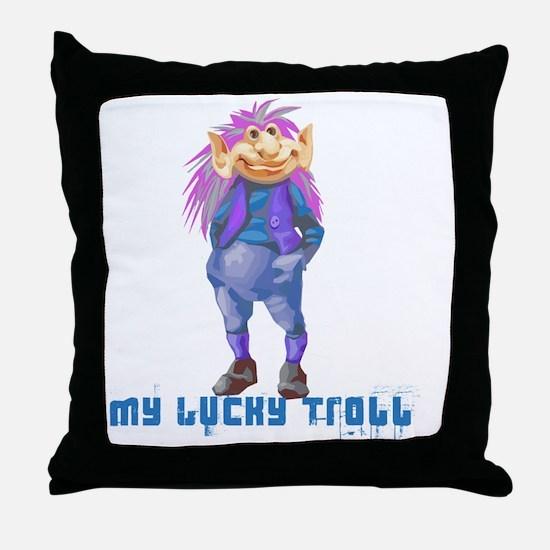 my lucky troll Throw Pillow