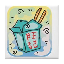 chinese food graphic Tile Coaster