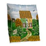 St Patricks Cottage Burlap Throw Pillow