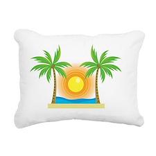 sunny palm tree design Rectangular Canvas Pillow