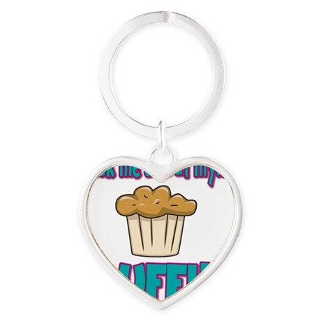 Funny Ask Me About My Muffin Design Heart Keychain