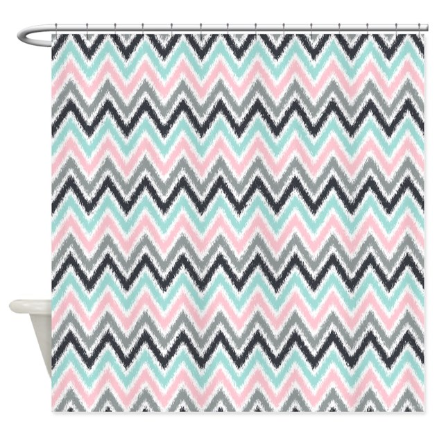Pink Mint Gray Ikat Zigzag Shower Curtain By Mcornwallshop