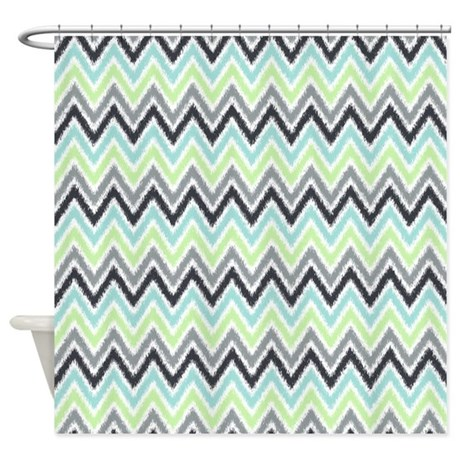Green Mint Gray Ikat Zigzags Shower Curtain By Mcornwallshop