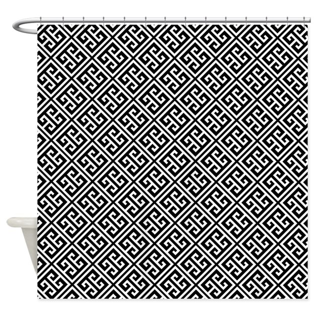 Black and White Greek Key Pattern Shower Curtain by ...