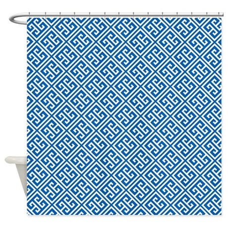 cobalt blue greek key pattern shower curtainmcornwallshop