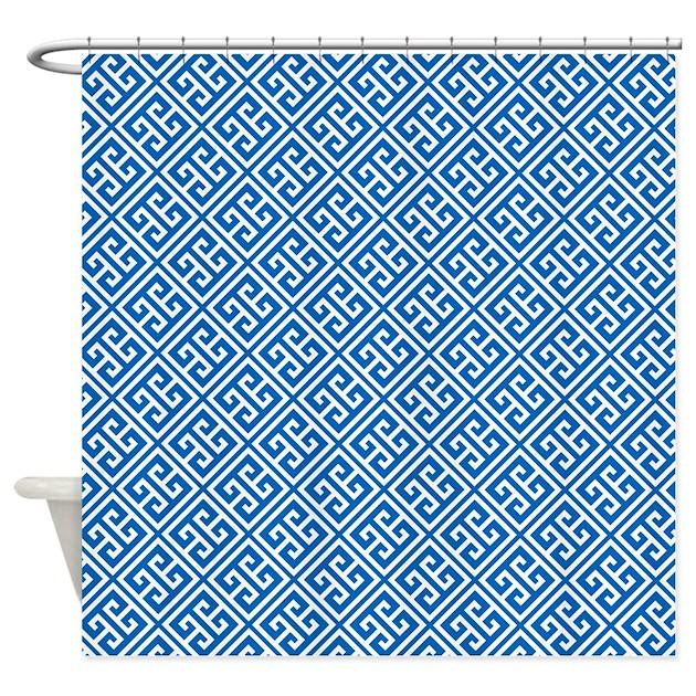 Cobalt Blue Greek Key Pattern Shower Curtain By Mcornwallshop