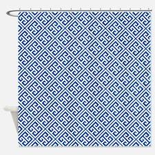 Cobalt Blue Greek Key Pattern Shower Curtain