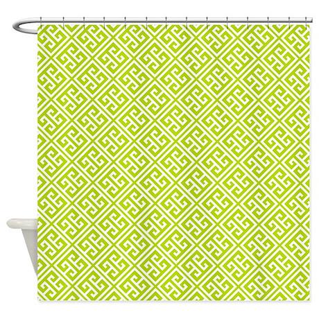 Kiwi Greek Key Pattern Shower Curtain By Mcornwallshop
