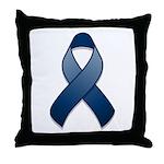 Dark Blue Awareness Ribbon Throw Pillow