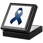 Dark Blue Awareness Ribbon Keepsake Box