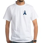 Dark Blue Awareness Ribbon White T-Shirt