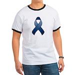 Dark Blue Awareness Ribbon Ringer T