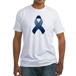 Dark Blue Awareness Ribbon Fitted T-Shirt