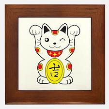 Maneki neko Lucky Cat Framed Tile