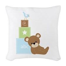 Blue Baby Bear Woven Throw Pillow