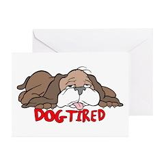 Dog Tired Cartoon Greeting Cards (Pk of 10)
