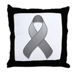 Gray Awareness Ribbon Throw Pillow