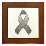 Gray Awareness Ribbon Framed Tile