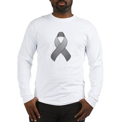 Gray Awareness Ribbon Long Sleeve T-Shirt