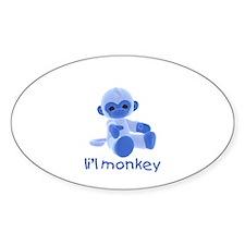 li'l monkey (blue) Oval Decal