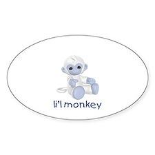 li'l monkey (lt blue) Oval Decal