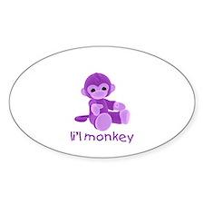 li'l monkey (purple) Oval Decal