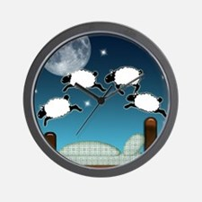 Bed Sky Counting Sheep at Night Wall Clock