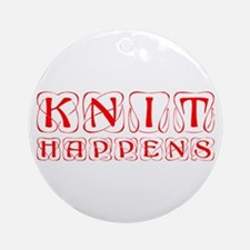 knit-happens-KON-RED Ornament (Round)