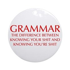 grammar-difference-OPT-RED Ornament (Round)