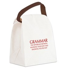grammar-difference-OPT-RED Canvas Lunch Bag