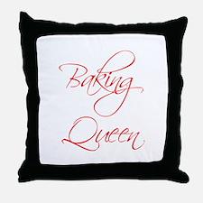 BAKING-QUEEN-scr-red Throw Pillow