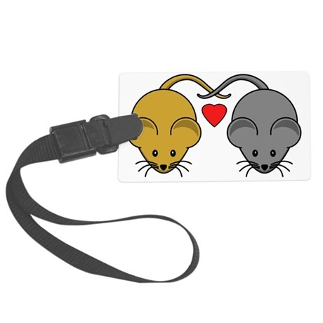 Brown & White Mice Couple Large Luggage Tag