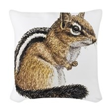 Chipmunk Cutie Woven Throw Pillow